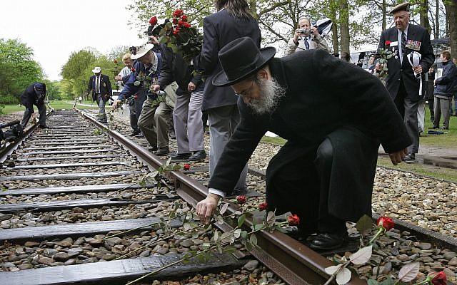 Dans cette photo du 9 mai 2015, un homme pose une rose sur un rail de chemin de fer à l'ancien camp de concentration de Westerbork, aux Pays-Bas, se souvenant que 100 000 Juifs ont été transportés depuis Westerbork vers un camp de la mort nazi. (AP Photo/Peter Dejong)
