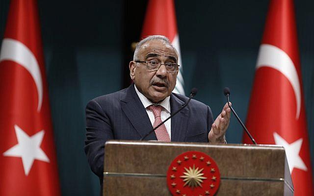 Le Premier ministre irakien Adel Abdul-Mahdi s'exprime aux médias lors d'une conférence de presse à l'occasion d'une visite à Ankara, en Turquie, le 15 mai 2019.(Burhan Ozbilici/AP)