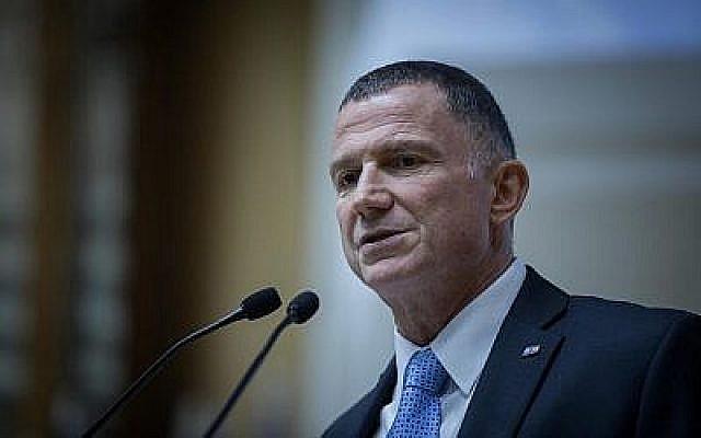 Le président de la Knesset Yuli Edelstein s'exprime devant les nouveaux élus avant leur cérémonie d'intronisation pour la 21e Knesset, le 29 avril 2019. (Noam Revkin Fenton/Flash90)