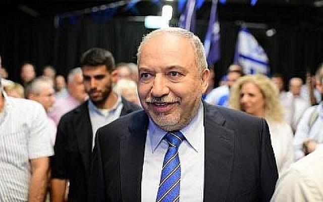 Avidgor Liberman, le chef d'Yisrael Beytenu, lors du lancement de la campagne de son parti à Tel Aviv, le 30 juillet 2019.  (Tomer Neuberg/Flash90)