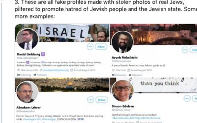 Capture d'écran de faux profiles sur Twitter.