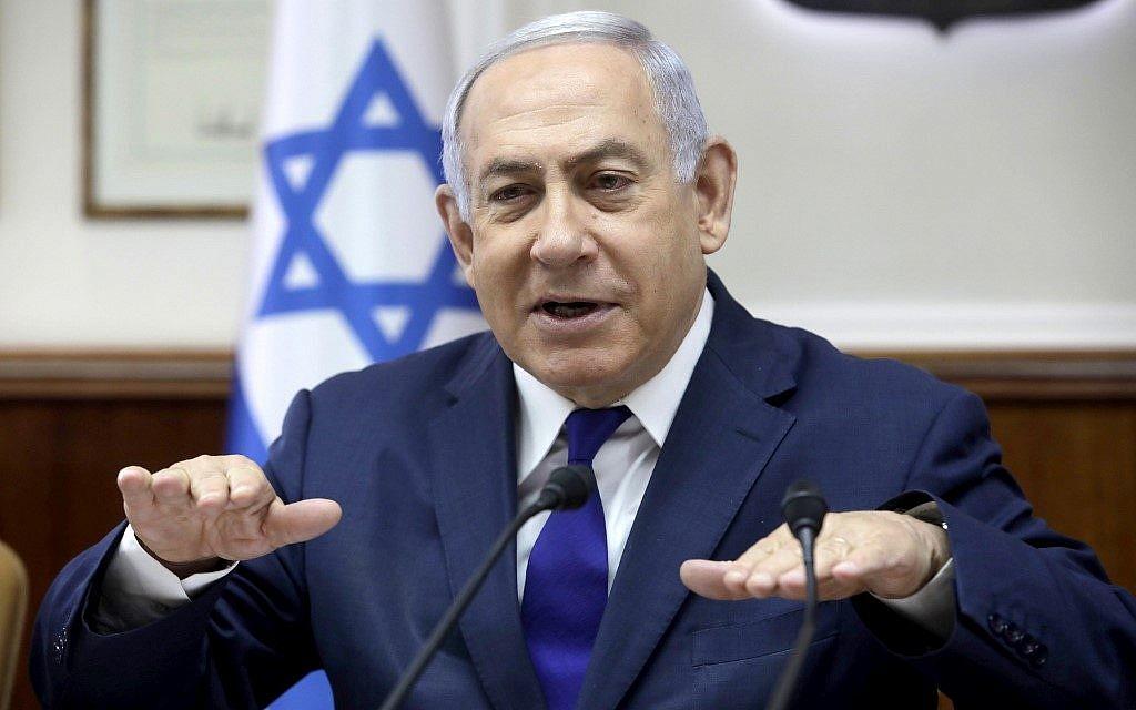 Le Premier ministre Benjamin Netanyahu dirige la réunion hebdomadaire du cabinet du Premier ministre au Cabinet du Premier ministre à Jérusalem, le 3 septembre 2019. (Sebastian Scheiner/Pool/AFP)