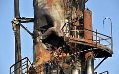 Une installation pétrolière à Abqaiq, en Arabie saoudite, détruite par une attaque, le 17 septembre 219. (Crédit : Fayez Nureldine / AFP)