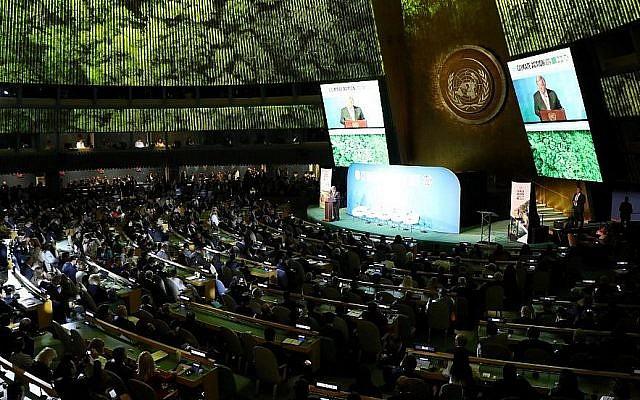 Le secrétaire-général de l'ONU Antonio Guterres s'exprime à l'Assemblée générale de l'instance à New York, le 23 septembre 2019 (Crédit : Ludovic MARIN / AFP)