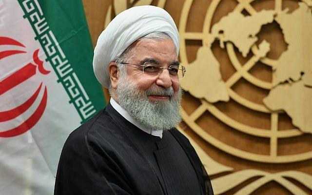 Le président Hassan Rouhani aux Nations unies à New York, le 25 septembre 2019 (Crédit :  Angela Weiss / AFP)