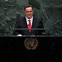 Le ministre des Affaires étrangères Yisraël Katz prononce un discours lors de la 74e session de l'Assemblée générale des Nations Unies le 26 septembre 2019 au siège des Nations Unies à New York. (Johannes EISELE / AFP)