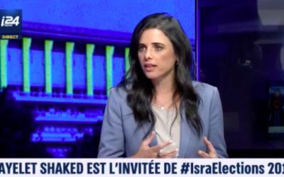 Ayelet Shaked sur le plateau d'i24NEWS, dimanche 8 septembre 2019. (Crédit : capture d'écran i24News)