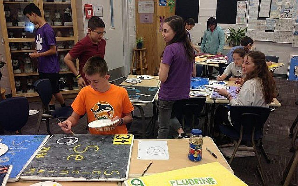 Les élèves de l'école communautaire Hershorin Schiff de Sarasota, en Floride, créent des panneaux pour le tableau périodique des éléments (Crédit : Ben Sales/JTA)