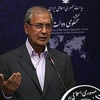Le porte-parole du gouvernement iranien Ali Rabiei lors de son point-presse habituel, le 22 juillet 2019 (Crédit :AP Photo/Vahid Salemi)