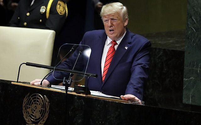 Le président Donald Trump prend la parole devant la 74e session de l'Assemblée générale des Nations Unies, le mardi 24 septembre 2019, à New York. (AP Photo/Evan Vucci)