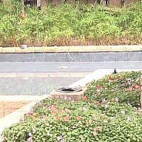 Le bassin décoratif dans lequel est soldat est tombé et a reçu un choc électrique vendredi 20 septembre 2019. (Crédit : capture d'écran)