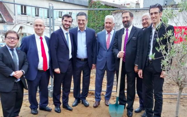 Cérémonie de lancement des travaux d'un nouveau centre culturel juif, à Boulogne. (Crédit : Twitter / PC Baguet)