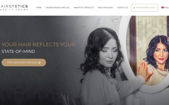 Capture d'écran du site Hairstetics.com.