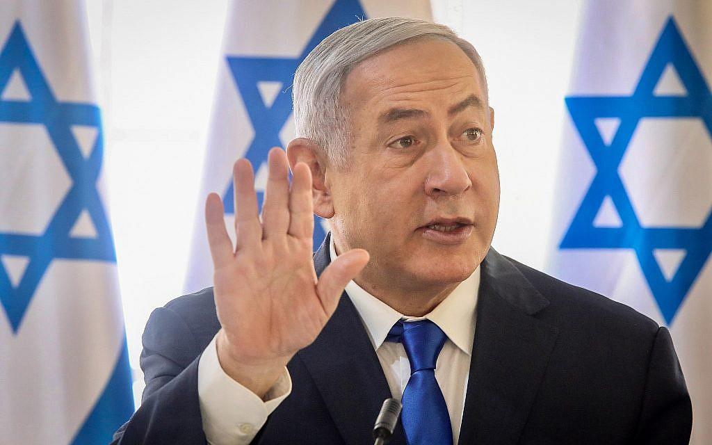 Le Premier ministre Benjamin Netanyahu lors de la réunion hebdomadaire du cabinet dans la Vallée du Jourdain, le 15 septembre 2019. (Crédit : Marc Israel Sellem/POOL)