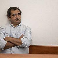 Le journaliste espagnol Julio de la Guardia au tribunal de Jérusalem, le 22 septembre 2019. (Hadas Parush/Flash90)