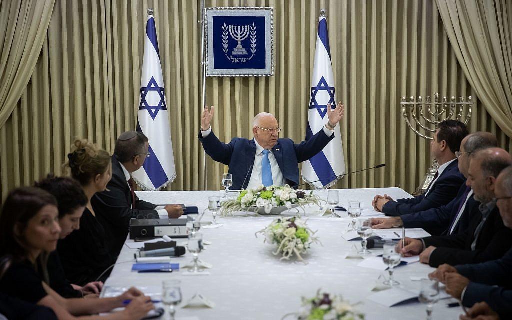 Les membres de la Liste arabe unie rencontrent le Président Reuven Rivlin à la Résidence du Président à Jérusalem, le dimanche 22 septembre 2019. (Yonatan Sindel/Flash90)