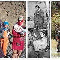 Image principale avec autorisation de différentes sources. De gauche à droite : Des villageois d'Agoudal avec du matériel acheté avec l'argent collecté sur la page GoFundMe gérée par Martha Rettig et Denise Marie ; un atelier juif-amazigh dans les montagnes de l'Atlas dans les années 1950 ; des femmes amazighes traversant une rivière portant des charges sur leur dos.