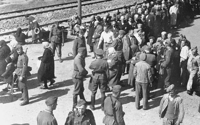 """L'une des nombreuses images de """"l'album d'Auschwitz"""" prises depuis le haut d'un wagon au mois de mai 1944. Plusieurs officiers SS et victimes juives qui venaient d'arriver ont été identifiées. (Crédit : Yad Vashem)"""