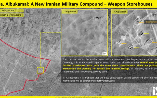 Image satellite montrant la construction d'une nouvelle base militaire iranienne dans la région d'Albukamal Al-Qaim en Irak, près de la frontière syrienne. (ImageSat International via Fox News)