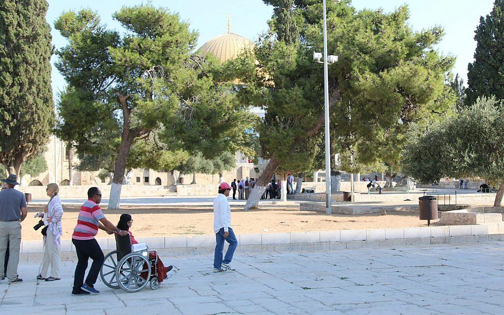 Les personnes en fauteuil roulant peuvent arpenter de toute part l'esplanade du mont du Temple (Crédit : Shmuel Bar-Am)