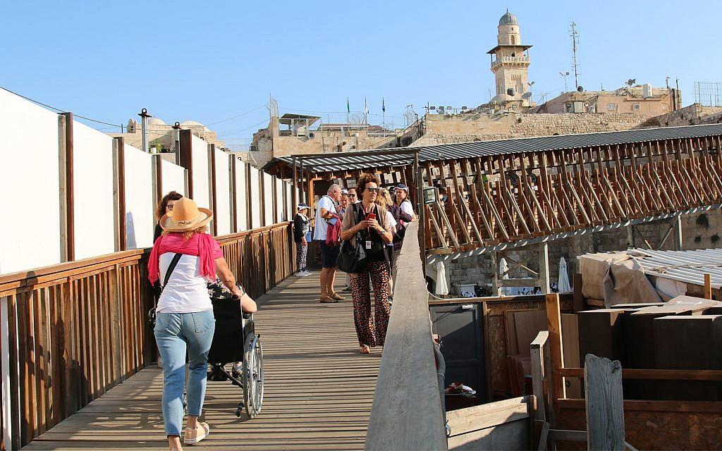 La rampe d'accès au mont du Temple (Crédit : Shmuel Bar-Am)