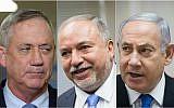 Montage/de gauche à droite : le chef du parti Kakhol lavan, Benny Gantz,, le chef du parti Yisrael Beytenu, Avigdor Liberman, et le Premier ministre et chef du Likud, Benjamin Netanyahu. (Crédit : Yonatan Sindel, Noam Revkin Fenton/Flash90)