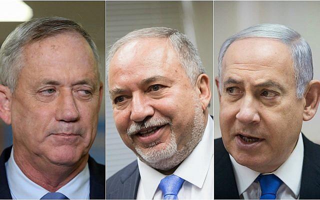 Montage/de gauche à droite : le chef du parti Kakhol lavan Benny Gantz, le chef du parti Yisrael Beytenu Avigdor Liberman et le Premier ministre et chef du Likud Benjamin Netanyahu. (Crédit : Yonatan Sindel, Noam Revkin Fenton/Flash90)