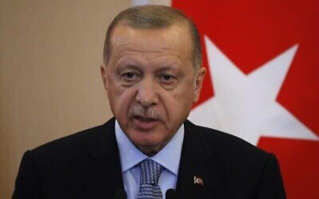 Le président turc Recep Tayyip Erdogan s'exprime lors d'une conférence de presse conjointe avec son homologue russe Vladimir Poutine à la suite de leurs entretiens dans la station balnéaire de Sotchi, le 22 octobre 2019. (Crédit : Sergei Chirikov/Pool/AFP)