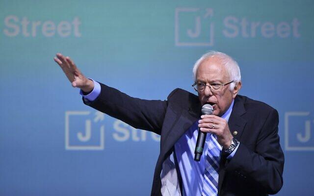 Le candidat démocrate Bernie Sanders au colloque J Street National à Washington, DC le  28 octobre 2019. (Crédit : MANDEL NGAN / AFP)