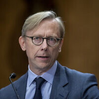 Brian Hook, le représentant spécial du Département d'État américain pour l'Iran, témoigne lors d'une audition de la commission sénatoriale des relations étrangères sur la politique américaine envers l'Iran, le 16 octobre 2019, à Washington. (Tasos Katopodis/Getty Images/AFP)