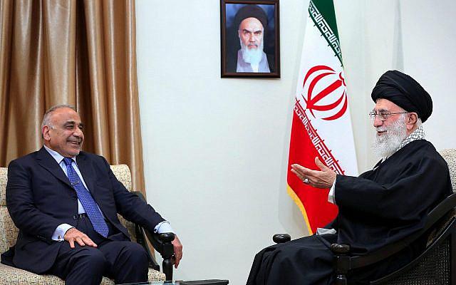 L'Ayatollah Ali Khamenei, à droite, parle avec le Premier ministre irakien Adel Abdel Mahdi, à Téhéran, en Iran, le 6 avril 2019. (Crédit : Bureau du chef suprême iranien via AP, File)