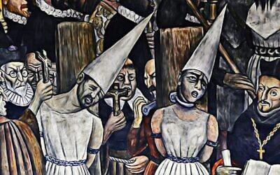 """Une peinture représentant l'Inquisition mexicaine, montrée dans cet extrait de """"Children of the Inquisition"""". (Lovett Productions)"""