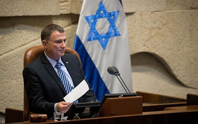 Le président de la Knesset, Yuli Edelstein, préside une séance plénière de la Knesset, le 12 juin 2019. (Yonatan Sindel/Flash90)