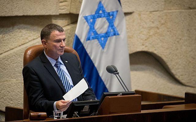 Le président de la Knesset, Yuli Edelstein, préside une séance plénière de la Knesset, le 12 juin 2019. (Yonatan Sindel/Flash90)
