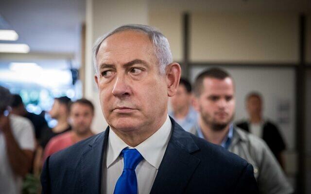 Le Premier ministre Benjamin Netanyahu fait une déclaration à la presse au Parlement israélien le 15 septembre 2019, quelques jours avant les élections israéliennes. (Yonatan Sindel/Flash90)