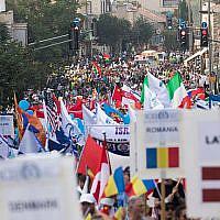 Des milliers d'Israéliens et de Chrétiens évangélistes participent à la Marche de Jérusalem de Souccot dans la capitale, le 17 octobre 2019. (Yonatan Sindel/Flash90)