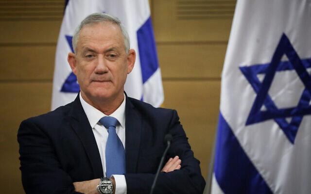 Le leader de Kakhol lavan Benny Gantz lors d'une réunion de faction à la Knesset, le 28 octobre 2019. (Crédit : Hadas Parush/Flash90)