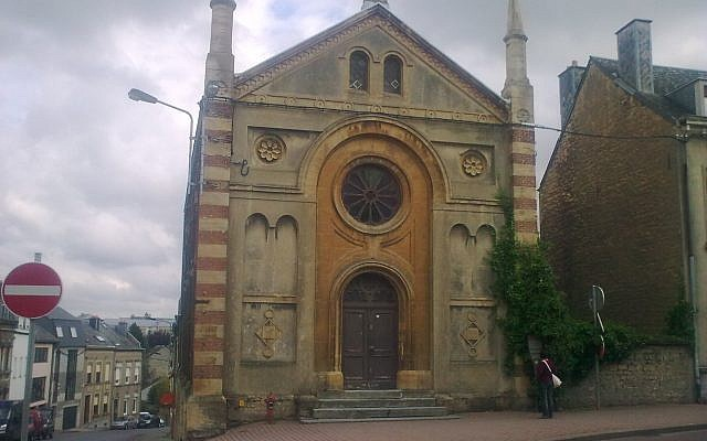 Arlon : la plus ancienne synagogue de Belgique, par l'architecte Jamot, inaugurée en 1865. (Crédit : domaine public)