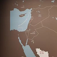 Image de la carte du Moyen-Orient modifiée et présentée à l'exposition. (Crédit: Haïm Korsia / Twitter)