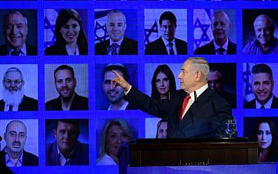 Le Premier ministre Benjamin Netanyahu au lancement de la campagne électorale de son part du Likud à Ramat Gan, le 4 mars 2019. (Aharon Krohn/Flash90)