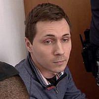 Aleksey Burkov durant une audience du tribunal en Israël (Capture d'écran : Treizième chaîne)