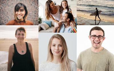Des photos provenant de banques d'images utilisées dans une campagne sur les réseaux sociaux par le ministère de l'Intégration. (Montage : Times of Israël)