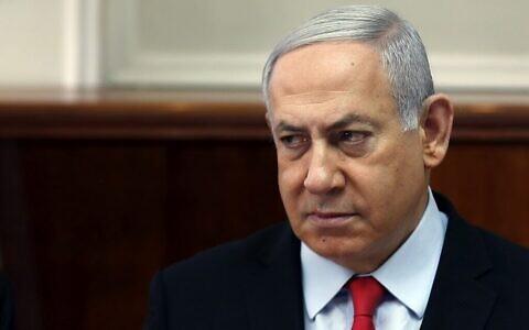 Le Premier ministre Benjamin Netanyahu préside une réunion du cabinet à Jérusalem, le 13 novembre 2019. (Ronen Zvulun/Pool/AFP)