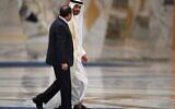 Le président égyptien Abdel Fattah al-Sisi et le prince héritier d'Abu Dhabi, Sheikh Mohamed bin Zayed al-Nahyan au palais présidentiel d'Abu Dhabi, le 14 novembre 2019. (Crédit : KARIM SAHIB / AFP)