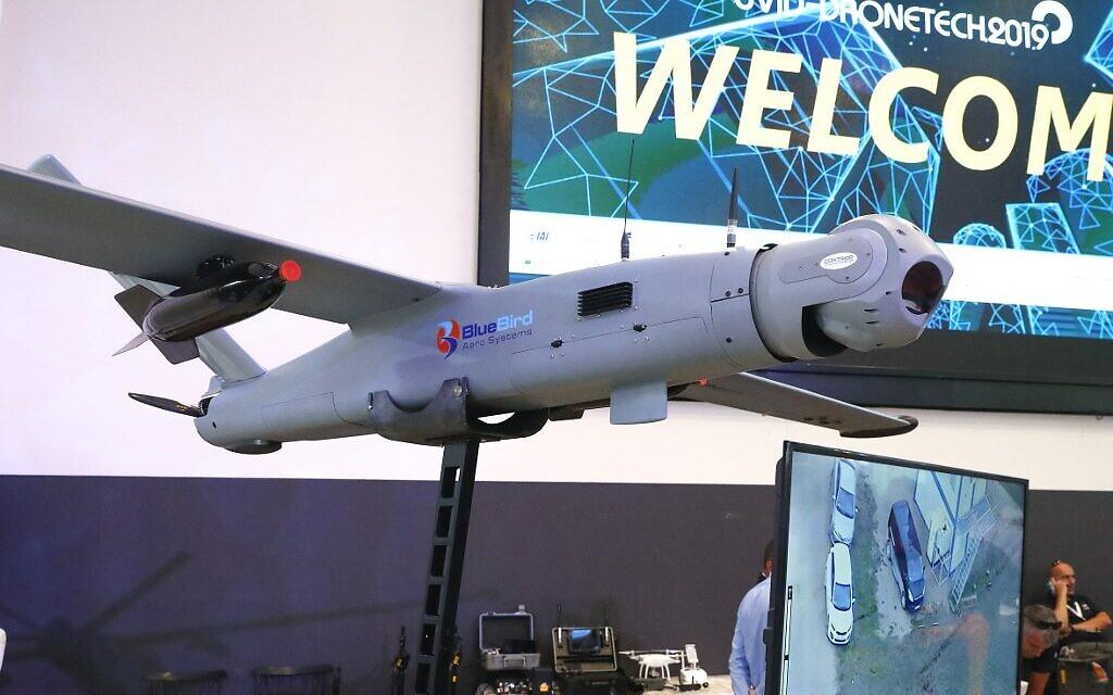 (ARCHIVES)photo pris ele 7 novembre 2019. Le ThunderB, un petit drone de la compagnie israélienne BlueBird à la  8th International Conference and Exhibition on Unmanned Systems (UVID, près de Tel Aviv. (Crédit : JACK GUEZ / AFP)