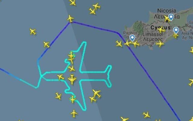 Un Boeing 747 d'El Al reliant Rome à Tel Aviv rend hommage au dernier vol de l'engin, le 3 novembre 2019. (Crédit : Flight Radar)