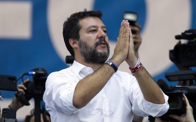 Matteo Salvini, le 15 septembre 2019. (Crédit : AP Photo/Luca Bruno)