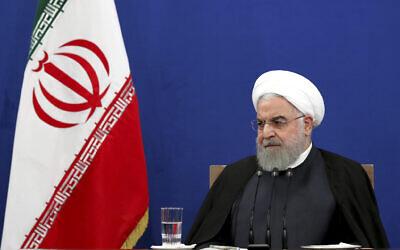 Le président iranien Hassan Rouhani donne une conférence de presse à Téhéran, Iran, le 14 octobre 2019. (Ebrahim Noroozi/AP)