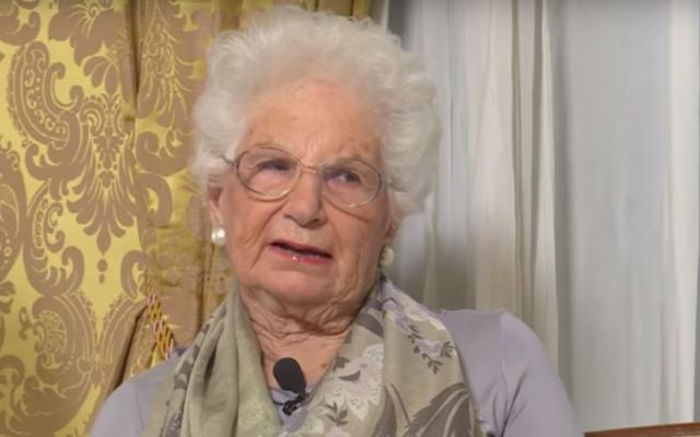 Liliana Segre, survivante italienne de la Shoah et sénatrice. (Crédit : capture d'écran YouTube / SenatoItaliano)