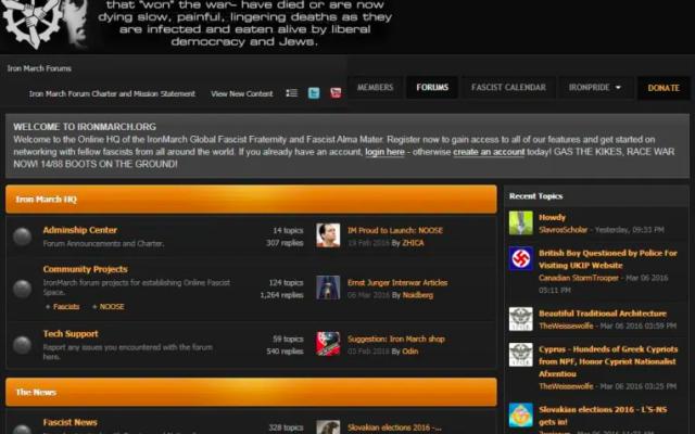 Capture d'écran du site «Iron March».